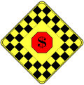 Dollar Sign on a Traffic Warning Sign Stock Photos