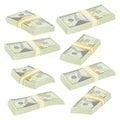 Dollar Stacks Vector. Money Banknotes. Cash Symbol. Money Bill Isolated Illustration.