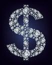 Dollar symbol in diamonds. Royalty Free Stock Photo