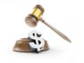 Dollar symbol gavel on a white background Stock Photography
