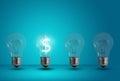 Dollar symbol glow among other light bulb Royalty Free Stock Photo
