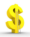 Dollar symbol and a ladder Stock Photo