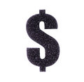 Dollar symbol made ​​of black foam rubber Stock Image