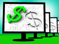 Dollar Symbol On Monitors Showing American Finances Stock Photo