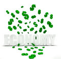 Dollar symbol raining over economy Royalty Free Stock Photography