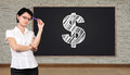 Dollar symbol thinking businesswoman and big blackboard with Stock Photography
