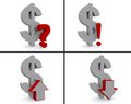 Dollar symbols a set of with arrows up and down question mark and an exclamation mark Stock Images