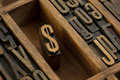 Dollar - vintage letterpress wooden type Royalty Free Stock Photos