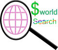 Dollar world searching with white background and sign very unique concept can be use for website design to describe how to earn Royalty Free Stock Image