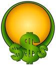 Dollarlogosidan undertecknar rengöringsduk Arkivbild