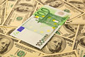 Dollars backround with euro Royalty Free Stock Photo