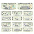 Dollars Banknote Set Vector. Cartoon US Currency. Two Sides Of American Money Bill Isolated Illustration. Cash Dollar