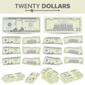 20 Dollars Banknote Vector. Cartoon US Currency. Two Sides Of Twenty American Money Bill Isolated Illustration. Cash