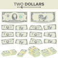 2 Dollars Banknote Vector. Cartoon US Currency. Two Sides Of Two American Money Bill Isolated Illustration. Cash Symbol
