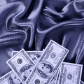 Dollars bills on silk fabric, money Royalty Free Stock Photo