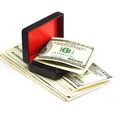 Dollars in the black box on white Stock Image