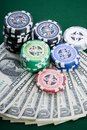 Dollars,cards and poker chips Stock Photo