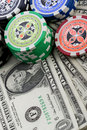 Dollars,cards and poker chips Stock Images