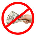 Dollars cash currency note dollar in hand prohibiting sign isolated Royalty Free Stock Photography