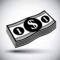 Dollars cash money stack vector simple single color icon. Royalty Free Stock Photo