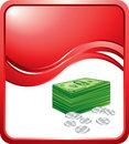 Dollars and cents on red wave background Stock Image
