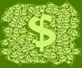 Dollars and dollar symbol lots of on as a background overlaid with a Stock Photo