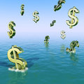 Dollars Falling In The Sea Stock Photo