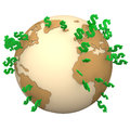 Dollars globe with green dollar symbols on the white background Stock Images