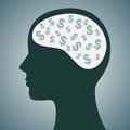 Dollars in head illustration of a human face with dollar symbols brain Royalty Free Stock Photos