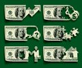 Dollars icons set isolated raster version of vector of cutting banknotes with shadow affect on a green background contain the Stock Image