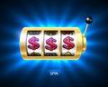 Dollars jackpot on slot machine Royalty Free Stock Photo