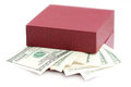 Dollars laying in red decorated gift box isolated on a white Royalty Free Stock Photos