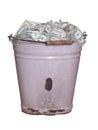 Dollars in old rusty bucket Stock Image