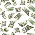 Dollars pattern us bill. Washington American cash. Falling usd money isolated on white background Royalty Free Stock Photo