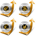 Dollars pound euro yen growth positive arrow orange tending upwards with currency symbols Royalty Free Stock Photos