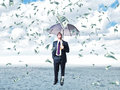 Dollars rain man with umbrella and Stock Image