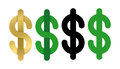 Dollars sign icon. USD currency symbol. Isolated vector money label set.
