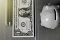 Dollars on the table.Black and white photo filters.soft light. Royalty Free Stock Photo