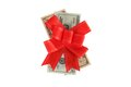 Dollars under a red bow on white Stock Images