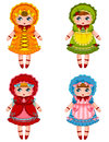 Dolls collection of cute in vintage dresses and bonnets Stock Image