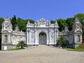 Dolmabahce palace gate white marble entrance to in istanbul Stock Photo