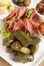 Dolmades greek wrapped with vine leaves feature in a mezze platter Stock Image