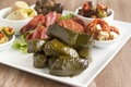 Dolmades greek wrapped with vine leaves feature in a mezze platter Royalty Free Stock Photography