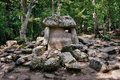 Ancient stone dolmen in the forest Royalty Free Stock Photo