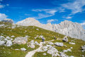 Dolomite mountains italy circa september people hiking near beautiful lakes in the italy circa september Stock Image