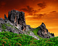 Dolomite peaks rosengarten val di fassa italy alps Royalty Free Stock Photo