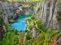 Dolomite quarry big america the velka amerika is abandoned with beautiful blue lake czech republic Royalty Free Stock Image