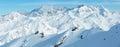 Dolomiten Alps winter view (Austria). Panorama. Royalty Free Stock Photo
