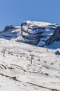 Dolomites Alps mountains in spring with cable car in Italy Royalty Free Stock Photo