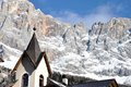 Dolomites and church landscape typical mountain Royalty Free Stock Images